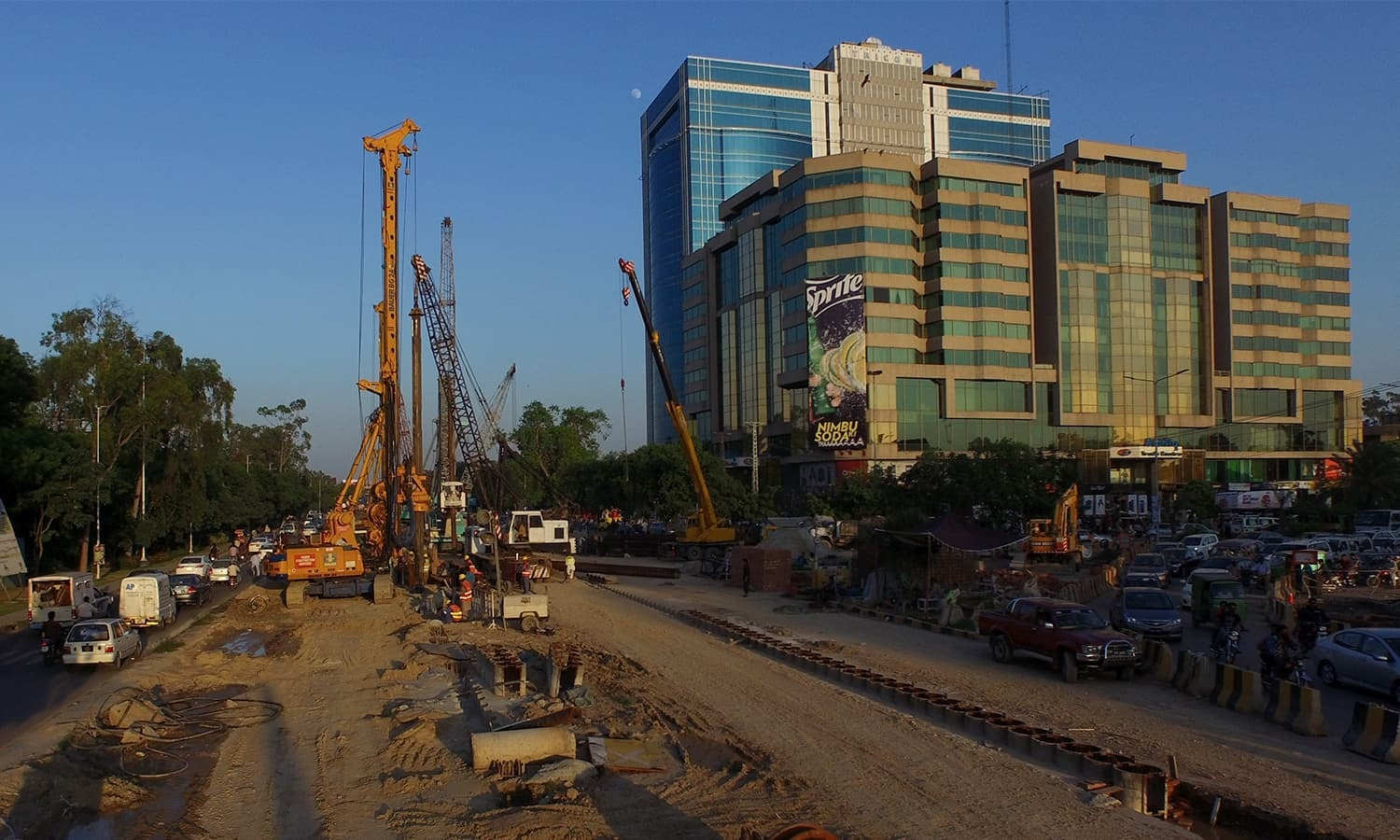 This file photo shows development work under way in Lahore. — Photo courtesy: Syed Muhammad Abubakar/File