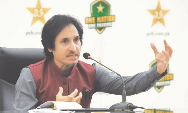 Newly-elected PCB chairman Ramiz Raja gestures during a news conference on Sep 13. —M. Arif/White Star