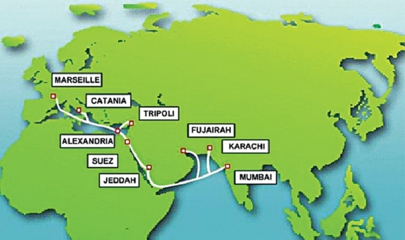 A map of the India-Middle East-Western Europe (IMEWE) submarine cable system which links Pakistan and India with Europe across several countries, including Saudi Arabia, Libya and Italy. — File/Dawn