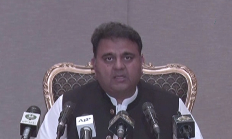 Information Minister Fawad Chaudhry addresses a press conference on Tuesday. — DawnNewsTV
