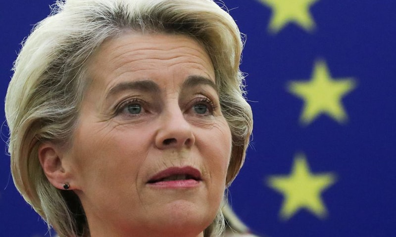 """In this file photo, European Commission President Ursula von der Leyen delivers a speech during a debate on """"The State of the European Union"""" at the European Parliament in Strasbourg, France. — Reuters/File"""