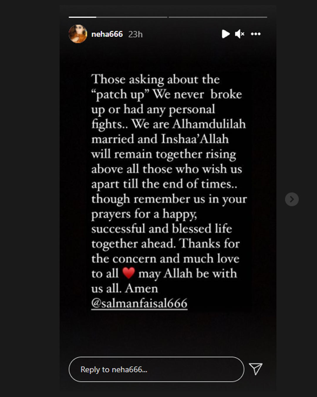 نیہا ملک نے انسٹاگرام اسٹوری میں وضاحت کی—اسکرین شاٹ