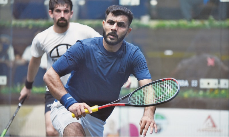 PLAYERS in action during a match of the Chief of Air Staff-Serena Hotels International Squash Tournament at the Mushaf Squash Complex on Tuesday.—APP