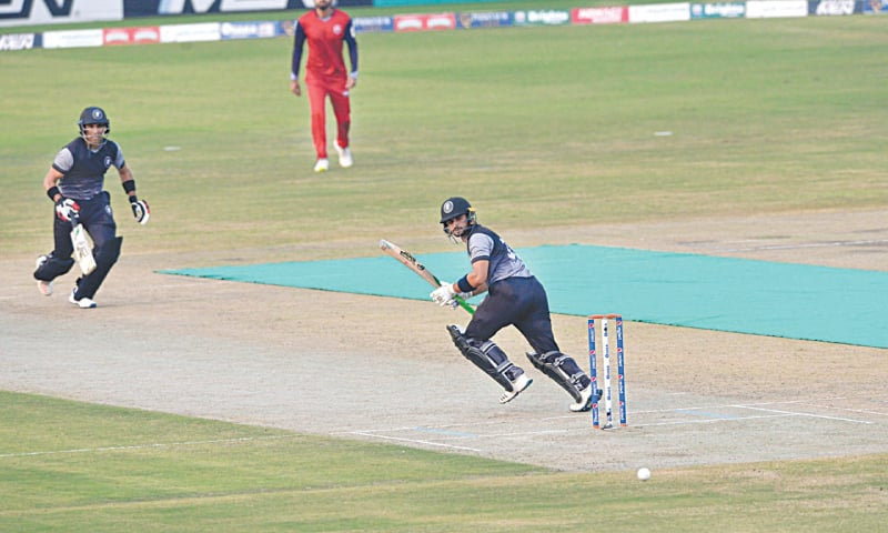 Khyber Pakhtunhwa's Sahibzada Farhan plays a delectable shot in the first semi-final of the National T20 Cup against Northern at the Gaddafi Stadium on Tuesday.  —White Star