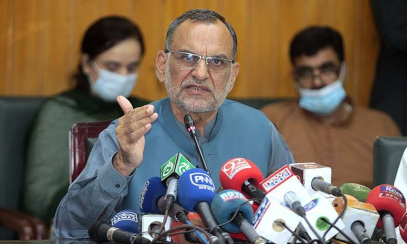 Railways Minister Azam Swati addresses a press conference in Lahore in this file photo. — APP