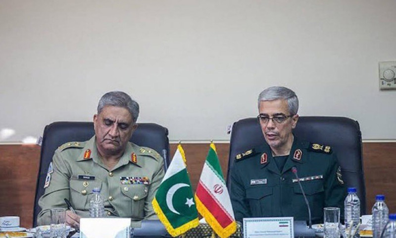 This file photo shows Chief of Army Staff Gen Qamar Javed Bajwa and Chief of General Staff of Iran's Armed Forces Maj Gen Mohammad Bagheri during a meeting in Tehran. — Photo via ISPR/File