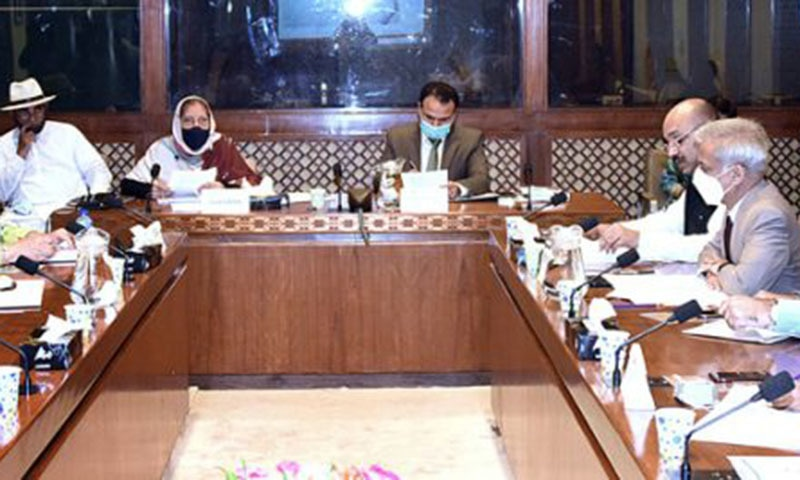 Senator Prof Dr Mehr Taj Roghani presides over a meeting of the Senate Standing Committee on National Health Services, Regulations and Coordination at Parliament House on Tuesday. — AP