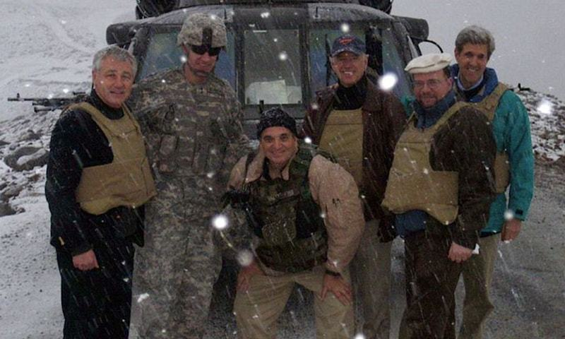 In this picture taken after the 2008 rescue mission, then US senators Joe Biden, who is now the president, (third from left), John Kerry (extreme right), and Chuck Hagel (extreme left) are seen posing for a photograph. — Photo courtesy Wall Street Journal Twitter/File