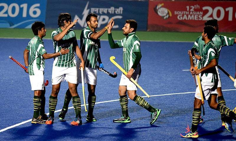 Pakistan hockey team players are seen during a match in this file photo. — AFP/File