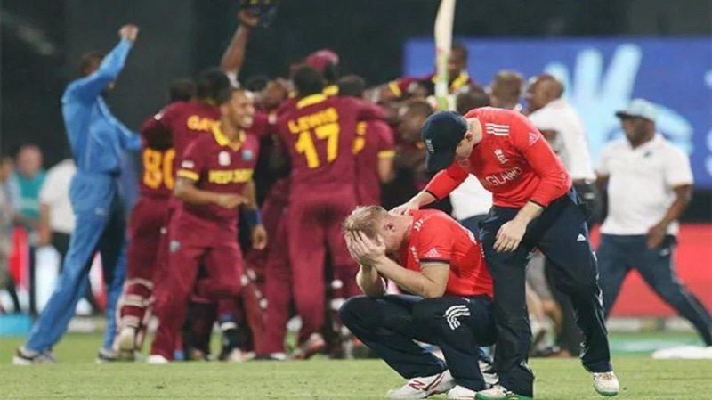 Ben Stokes is consoled by his captain Eoin Morgan following England's loss to the West Indies in the final of the World T20 on April 3, 2016. — File