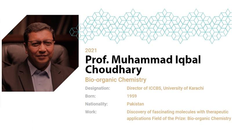 Professor Dr Muhammad Iqbal Choudhary is a world-renowned medicinal chemist. — Screengrab: Mustafa Prize website