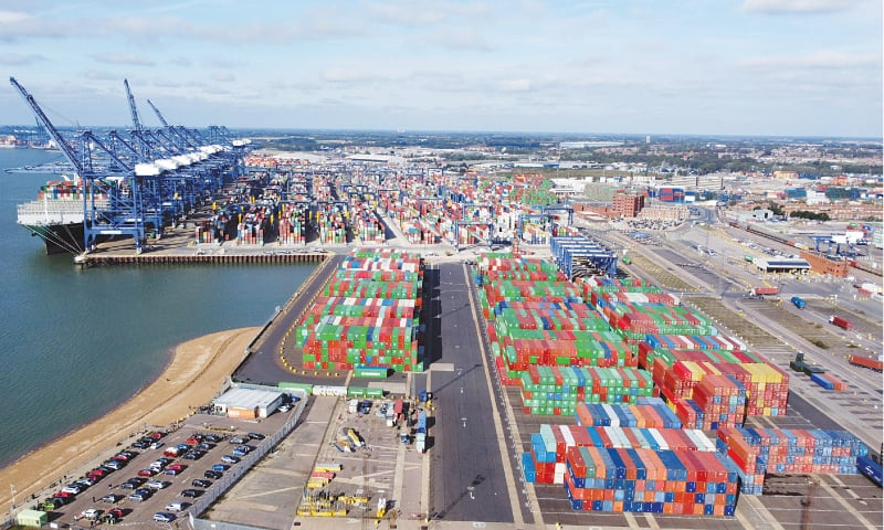 A VIEW of stacked shipping containers at Britain's Felixstowe port on Wednesday.—Reuters