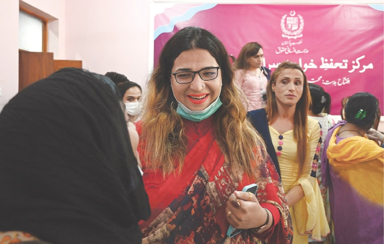 ISLAMABAD: Members of the transgender community gather during the inauguration of the Transgender Protection Centre on Wednesday. The centre is the first of its kind government facility that would provide legal aid, health and rehabilitation services, as well as psychological counselling, for the transgender community. Federal Minister for Human Rights Dr Shireen Mazari said the transgender community would be provided the same employment and healthcare facilities as other citizens of the country.—AFP