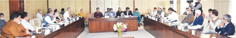 Senator Liaquat Khan Taraki presiding over the meeting of the parliamentary committee.—PPI