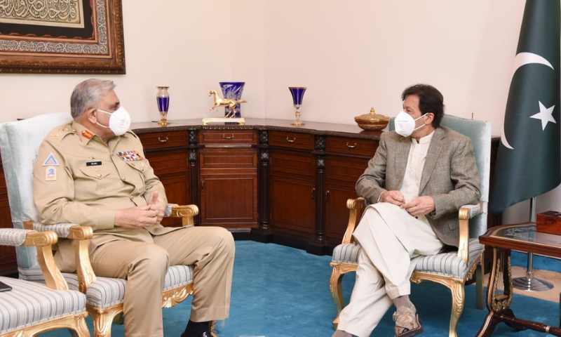 Chief of the Army Staff General Qamar Javed Bajwa meets Prime Minister Imran Khan in Islamabad in this file photo. — Photo courtesy Prime Minister's Office Twitter
