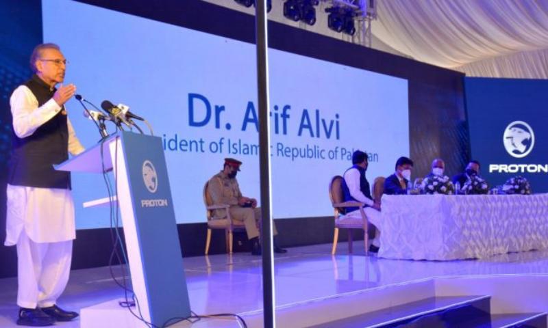 President Dr Arif Alvi addresses a ceremony held to inaugurate the Al-Haj Automotive Assembly Plant of Proton SAGA in Karachi on Wednesday. — APP