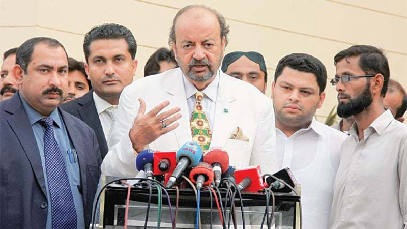 Sindh Assembly Speaker Agha Siraj Khan Durrani speaks to the media in this file photo. — PPI