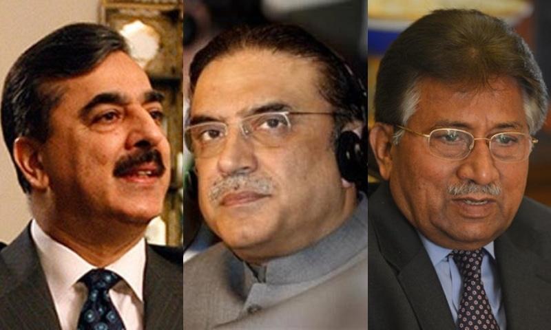 This combination photo shows PPP Senator Yousuf Raza Gilani (L), PPP co-chairperson Asif Ali Zardari (C) and Gen Pervez Musharraf (R). — Reuters/AP/AFP