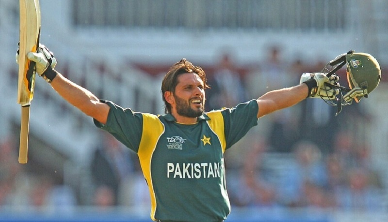 In this file photo Shahid Afridi celebrates in his signature style after smashing a winning shot in the World T20 final against Sri Lanka on June 21, 2009. — AFP/File
