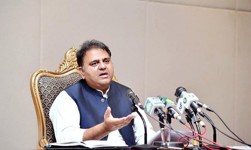 Information Minister Fawad Chaudhry addresses a press conference in Islamabad. — APP/File