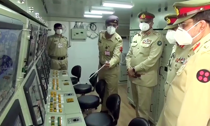 Chief of the Army Staff General Qamar Javed Bajwa visits the Army Air Defence Centre in Karachi on Thursday. — Screenshot courtesy: ISPR