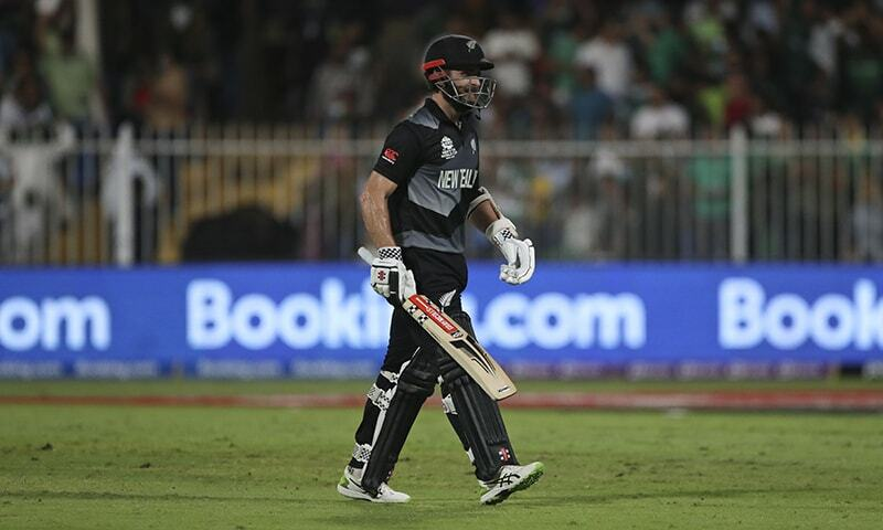 New Zealand's captain Kane Williamson leaves the field after being dismissed during the Twenty20 World Cup match between New Zealand and Pakistan in Sharjah, UAE, Tuesday. — AP