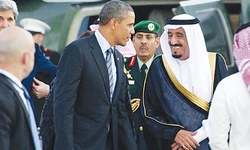 Saudis seek greater US role in Mideast as Obama visits
