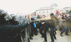 Police, protesters fight running battles in Kosovo's capital