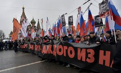 Tens of thousands march for slain Russian opposition leader