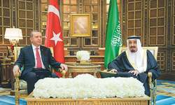 King Salman meets Erdogan amid thaw in relations