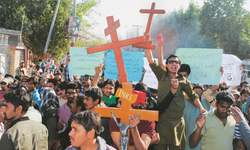 Christians protest bombing of churches