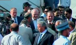PM Nawaz receives president of Belarus at Nur Khan airbase