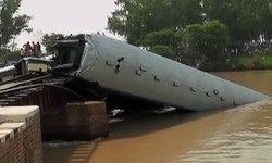 12 die as train carrying army men falls into canal near Gujranwala
