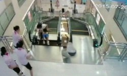 China escalator swallows woman