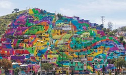 Working class area turns into huge rainbow mural