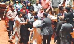 Rumpus mars PA session as violent clash averted