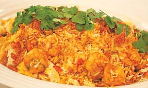 Prawn biryani on the beach