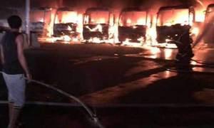 مکہ:تنخواہیں نہ ملنے پر مزدوروں نے9 بسیں جلادیں