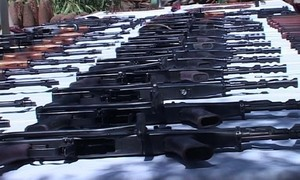 Arms, ammo seized from car; two held