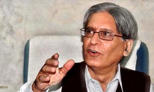 Aitzaz accuses govt of ceding civilian space to military