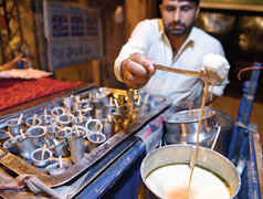 Coming to life at night, the Kartarpura food street offers traditional sehri options