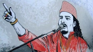 This mural in Korangi pays tribute to slain qawwal Amjad Sabri