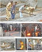 Labouring for a living at a steel mill