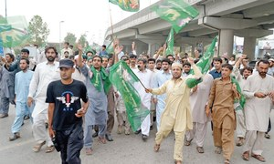 PML-N workers stage protest demo against PTI