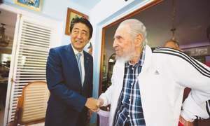 Abe raises North Korea's nuclear programme with Fidel Castro