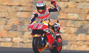 Marquez takes dominant pole at Aragon circuit