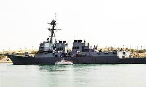 Missiles fired from rebel-held Yemen land near US destroyer