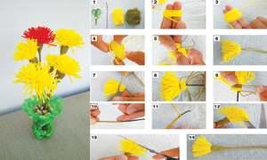 Make dandelions from yarn