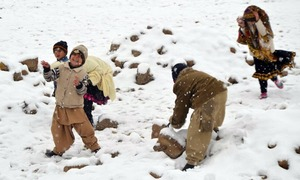 Celebrations all around as winter's first snowfall blankets Quetta