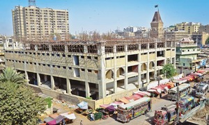 Work on Shahabuddin Market plaza resumes after six-month hiatus